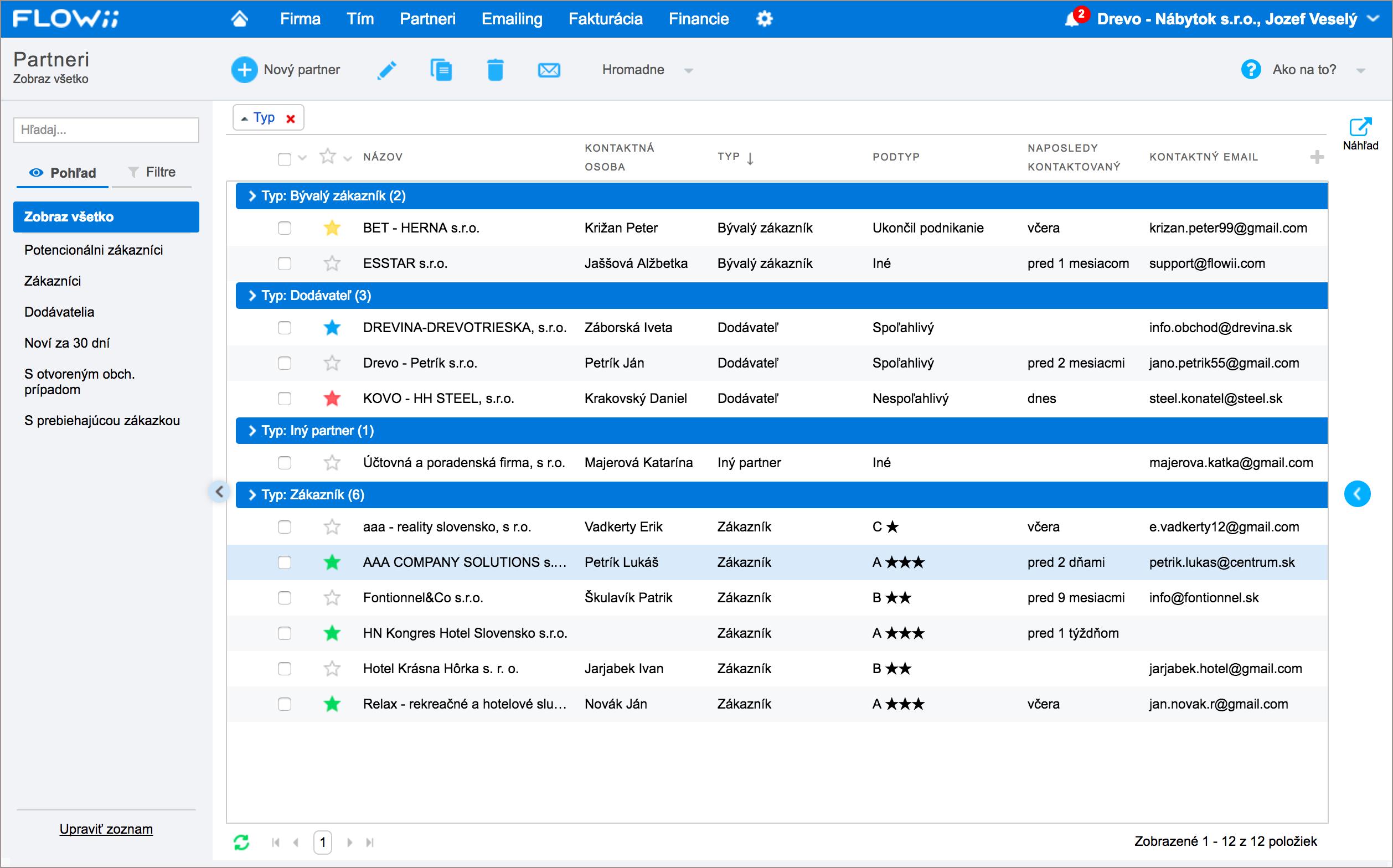Emailing - databáza partnerov