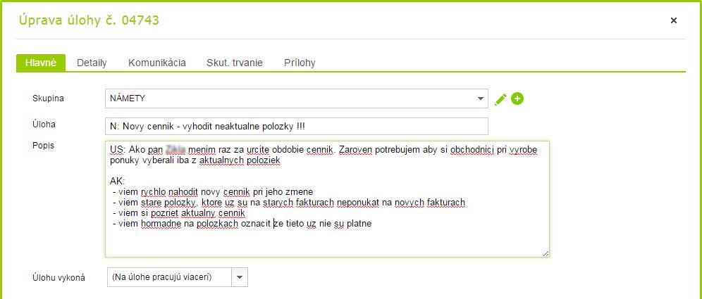 Ukážka zadávania úlohy (User story) vo FLOWii