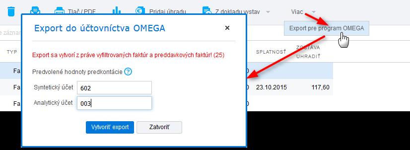 Import faktúr do účtovného softvéru Omega