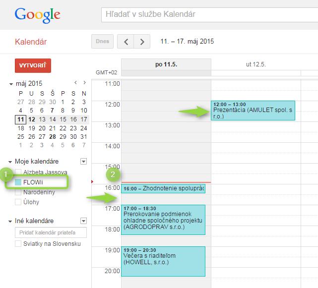 google kalendar a FLOWii