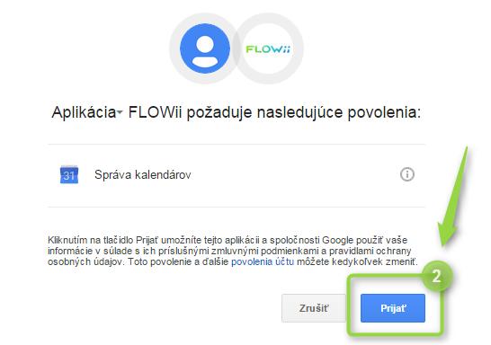 Potvrďte váš zájem propojit údaje z FLOWii do google kalendáře
