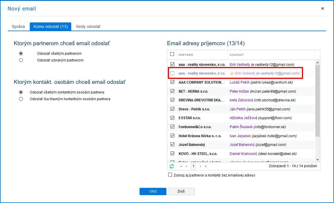 Kontrola zaslania hromadného emailu