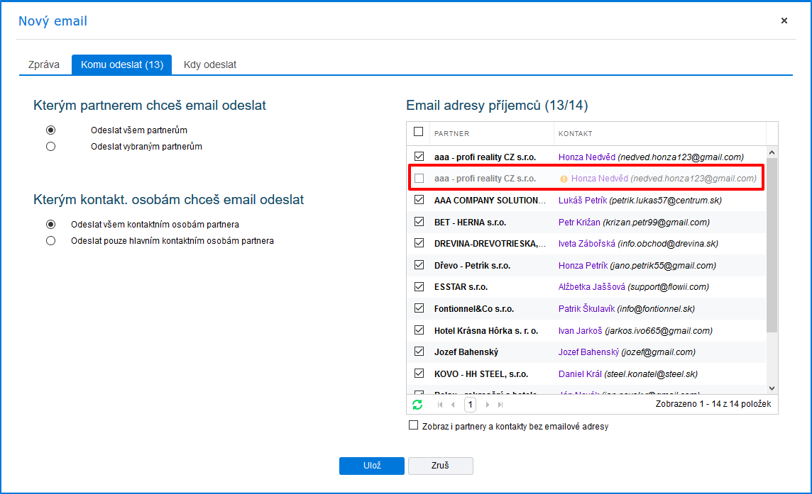 Kontrola zaslání hromadného emailu