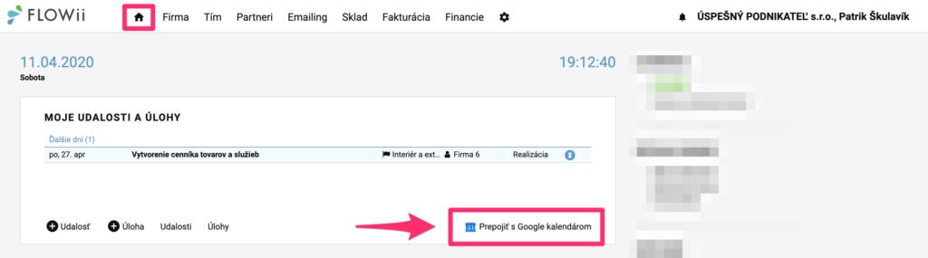 Prepojenie FLOWii s Google kalendárom