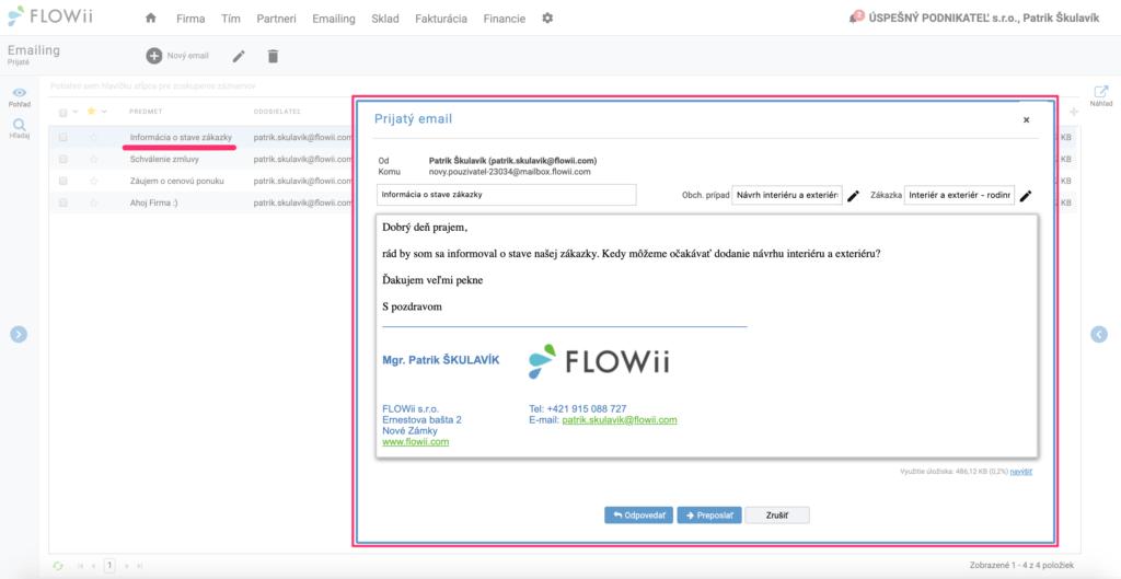 Ako zobraziť prijatý email vo FLOWii