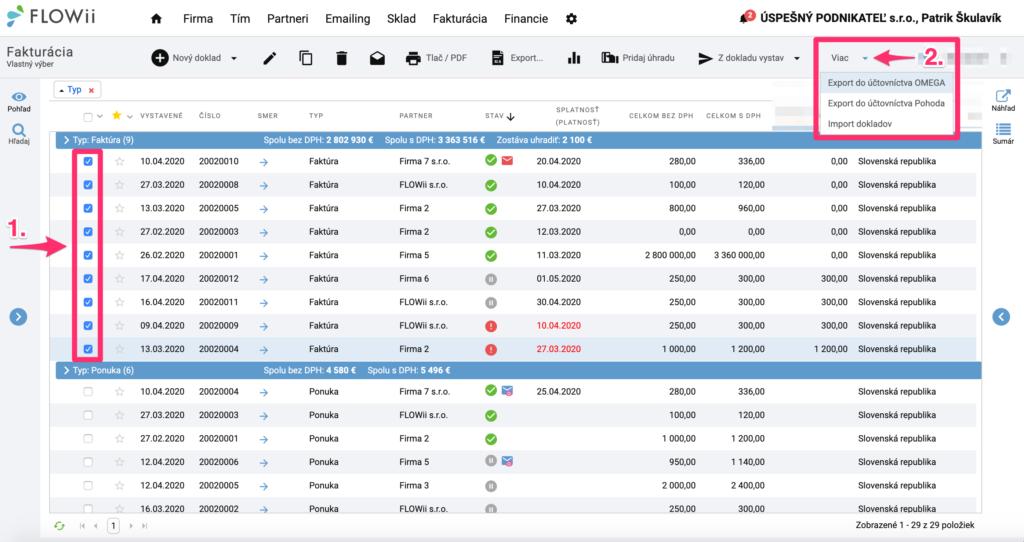Ako exportovať faktúry z FLOWii do programu Omega, Pohoda, Excel