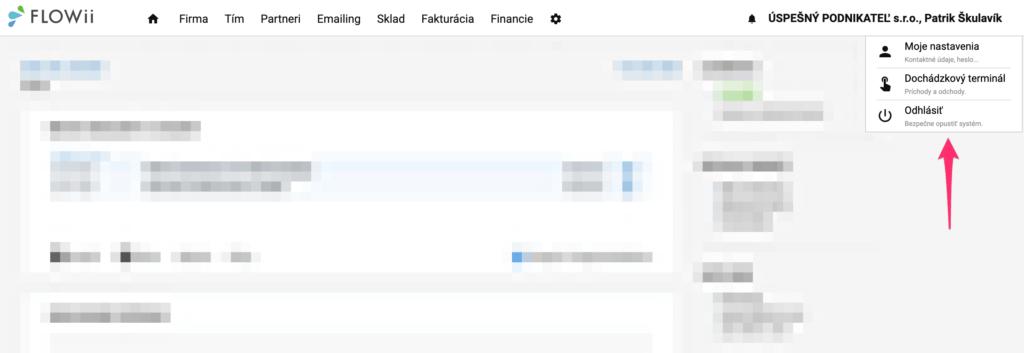 Hlavné menu vo FLOWii - nastavenia používateľa, dochádzkový terminál.