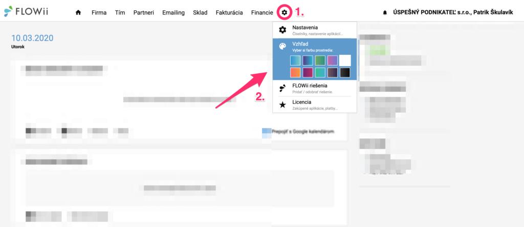 Ako nastaviť farebný vzhľad crm aplikácie FLOWii