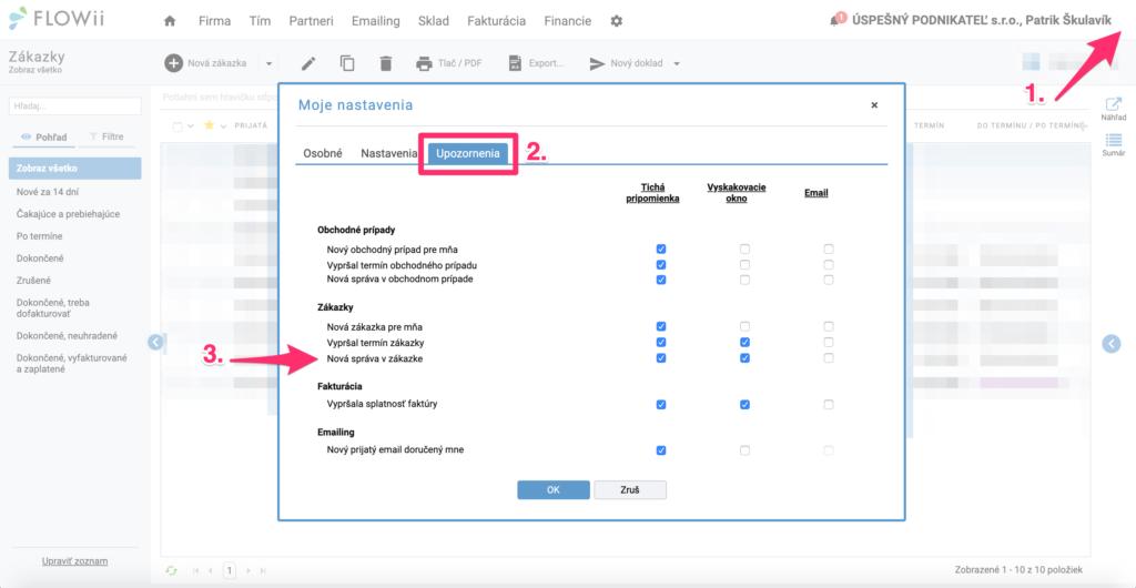 Ako nastaviť notifikácie na nové správy v zákazke, projektoch