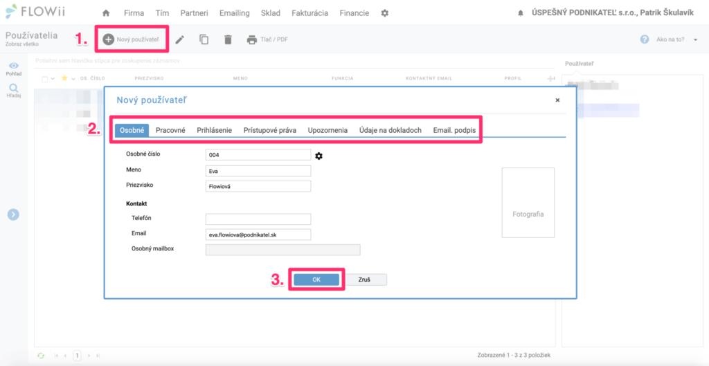 Ako vyplniť údaje novému používateľovi