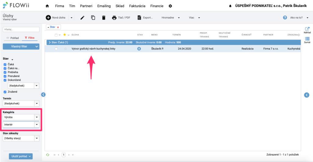 Ako filtrovať úlohy podľa kategórie a podkategórie