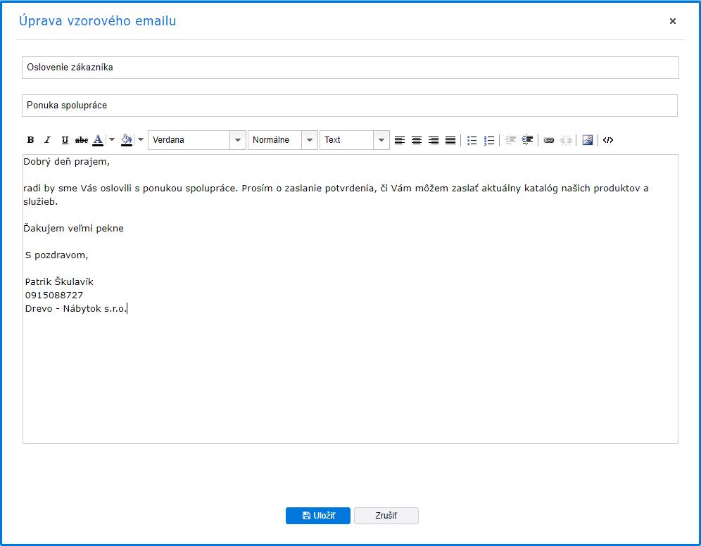 2. Vytvorenie viacerých vzorových emailov 7fd631c97c0