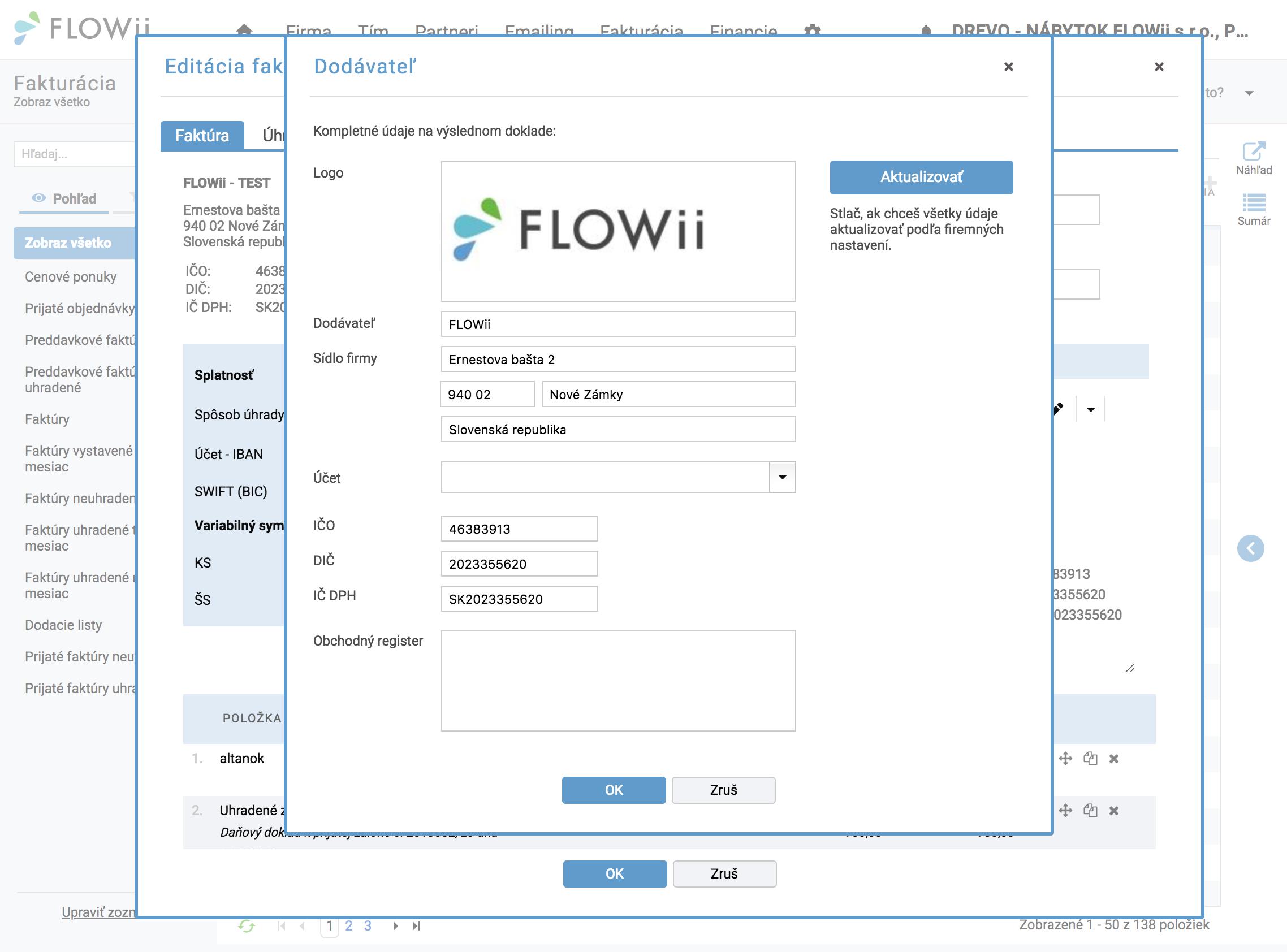 Editácia kompletných údajov na doklade