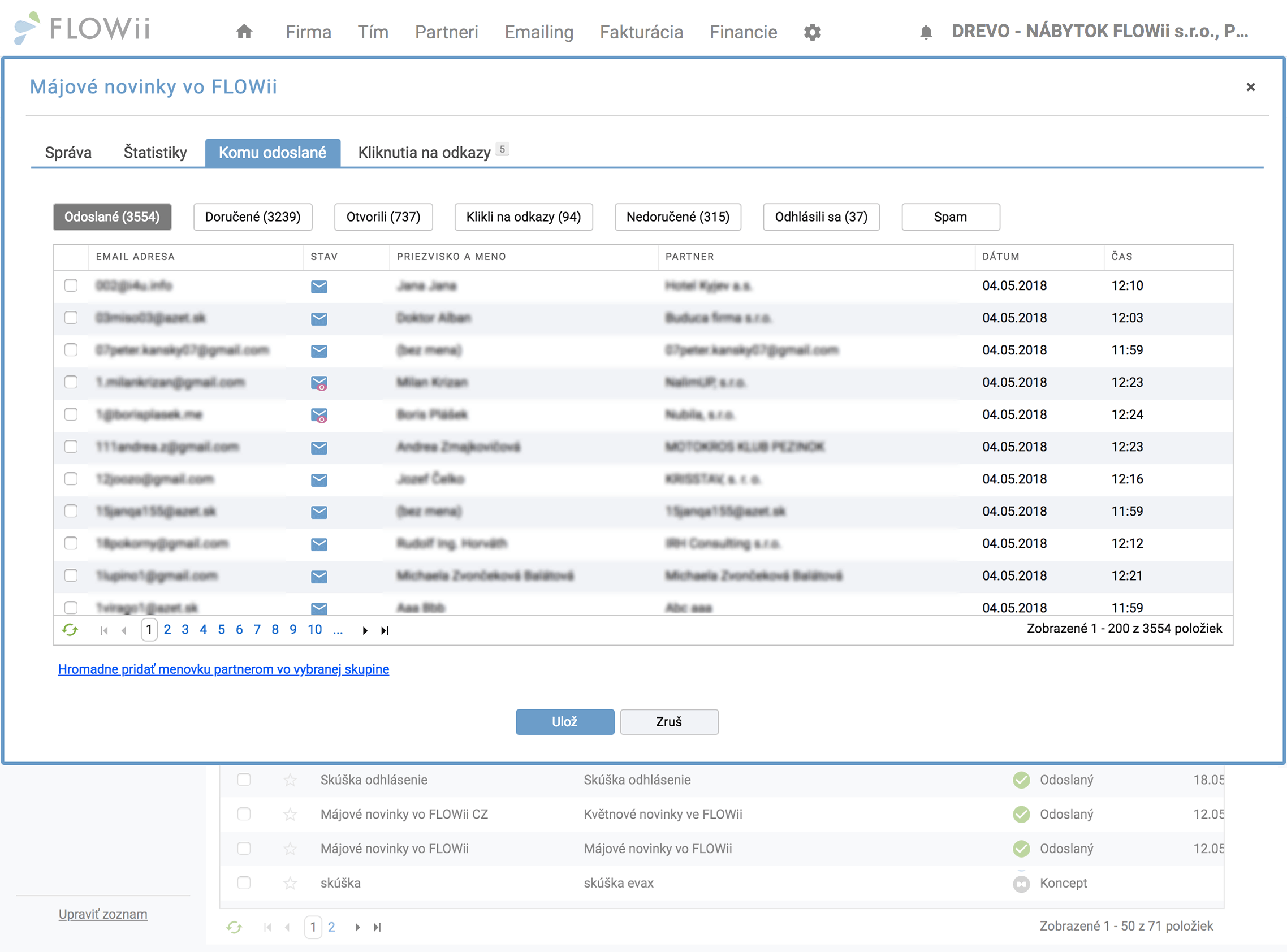 Zoznam adresátov rozdelený podľa toho, ako na vaše e-maily reagovali