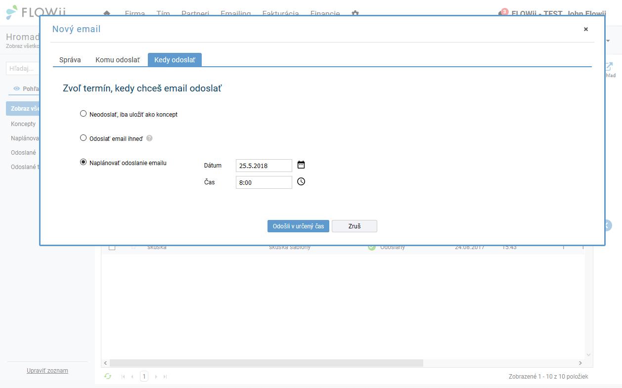 Zvoľ termín, kedy chceš email odoslať