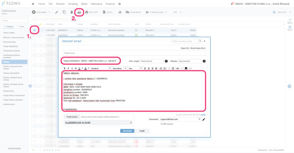 Ako odoslať faktúru emailom