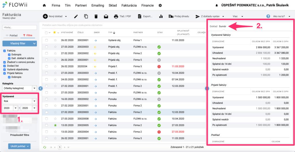 Ako zistiť hodnotu vyfiltrovaných záznamov vo FLOWii - sumár faktúr, zákaziek, financií