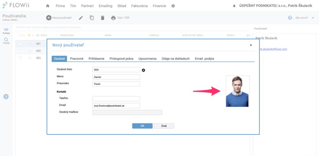 Ako pridať fotku používateľa, zamestnanca do FLOWii