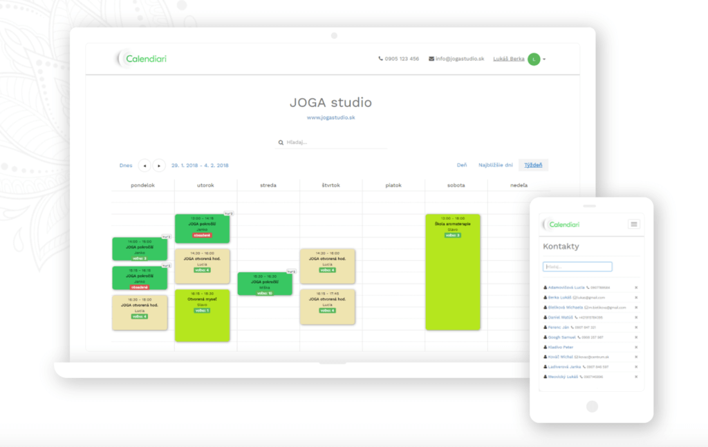 Pracovný kalendár a online rezervačný systém