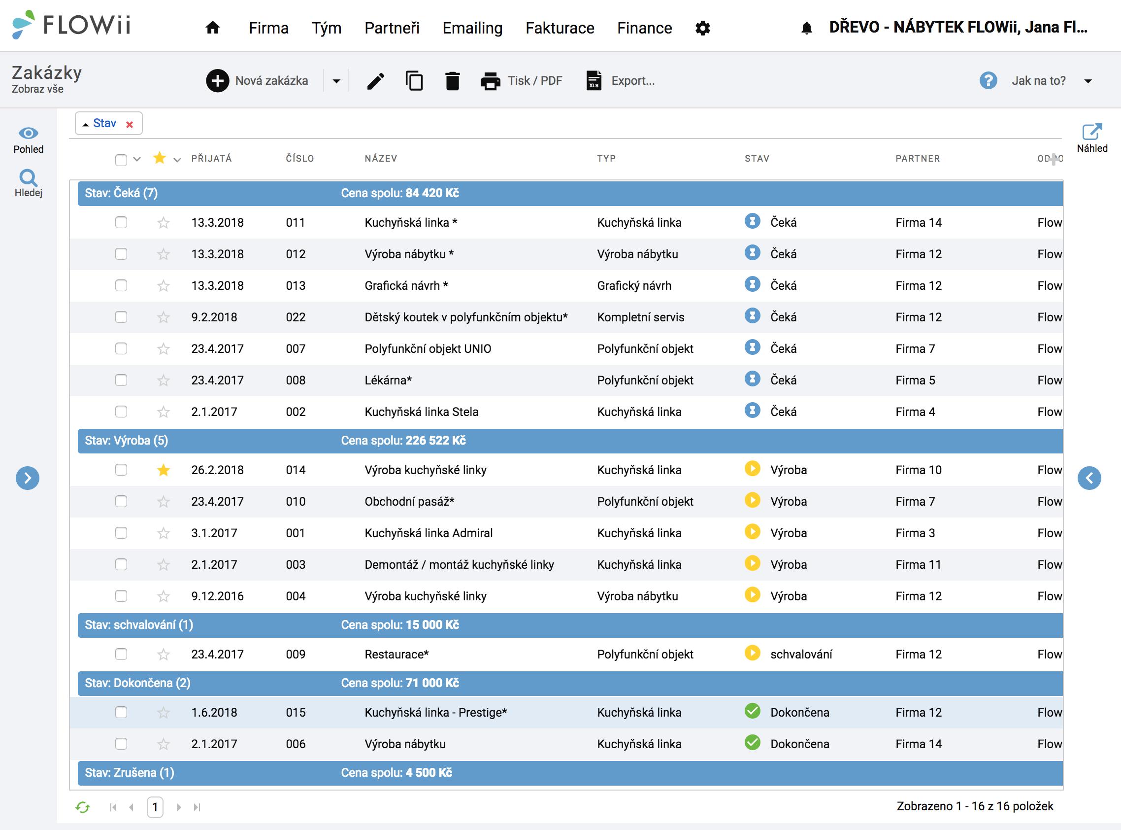 Zakázky a projekty - erp systém